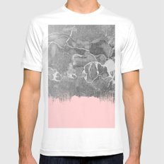 Crayon Marble with Pink Mens Fitted Tee White MEDIUM