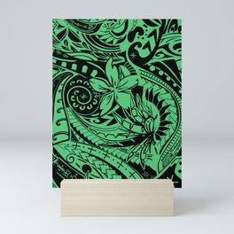 Hawaiian - Polynesian Teal Tropical Print Mini Art Print