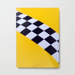 Abstract Medieval Flag Of Yellow Color With A Black And White Checks Metal Print