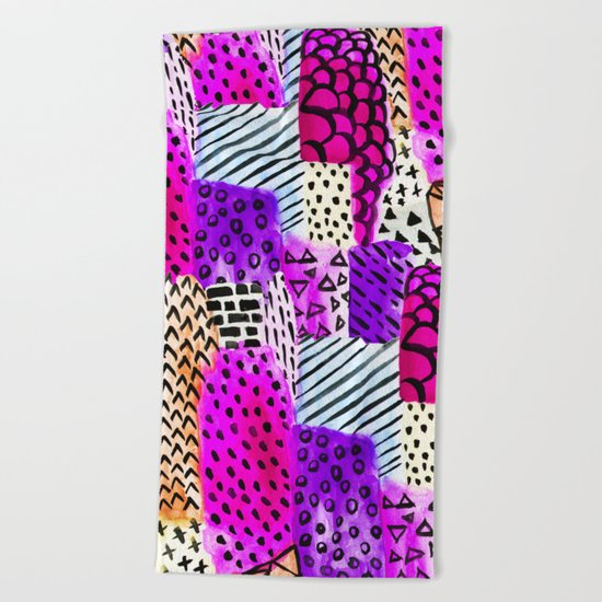 Modern pink watercolor abstract geometric hand painted pattern Beach Towel