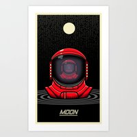 the moon Art Prints featuring Moon by Omega Man 5000