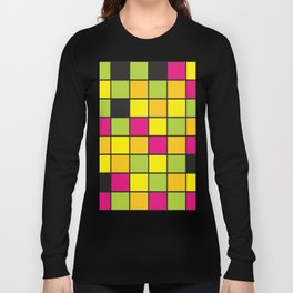 Bright neon colors square pattern Long Sleeve T-shirt