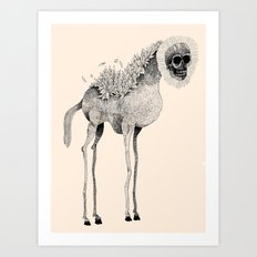 Tall Horse With Skull Art Print
