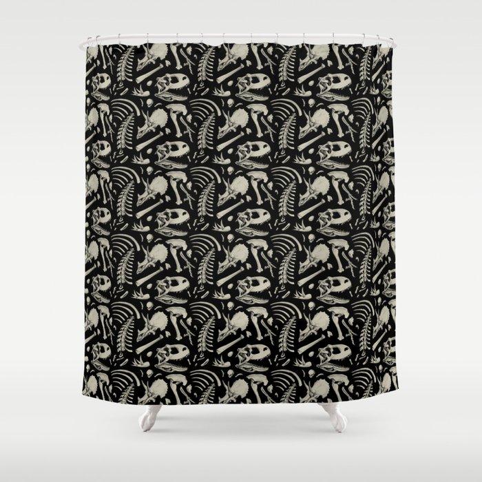 Dino Bones Black Shower Curtain by estrojenn | Society6