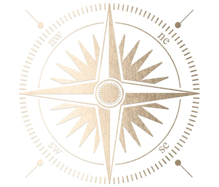 Gold on White Compass Metal Travel Mug