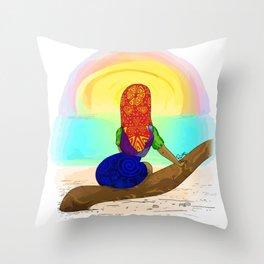 Kuna girl watching the sunset Throw Pillow