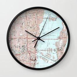 Miami Florida Map (1988) Wall Clock