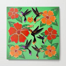 Hummingbird and Hibiscus Batik Pattern Metal Print