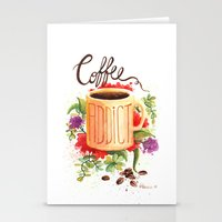 coffe Stationery Cards featuring Coffe Addict by Luana Mucci