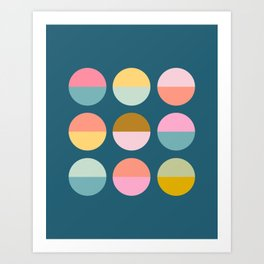 Colorful and Bright Circle Pattern Art Print