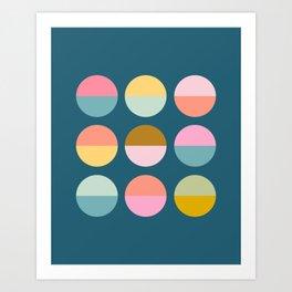 Colorful and Bright Circle Pattern Art Print