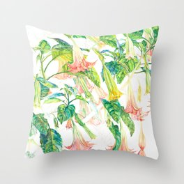 Brugmansia Delicate Floral Watercolor Trumpet Flower Painting Throw Pillow