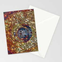 Mosaik orange with a dark blue circle Stationery Cards
