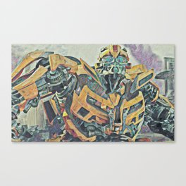 Bumblebee Surprised Artistic Illustration Colored Pencils Lines Style Canvas Print