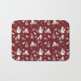 Red Gnome Pattern - Christmas Bath Mat