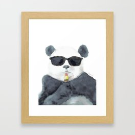 Panda Loves Popsicle Framed Art Print
