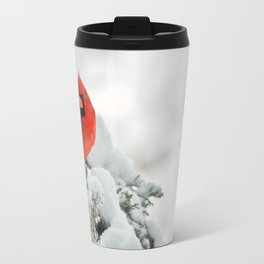 Cardinal on a Snowy Branch Travel Mug