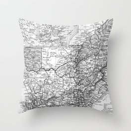 Vintage Map of South Africa (1892) BW Throw Pillow