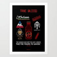 true blood Art Prints featuring True Blood Logos by CLM Design