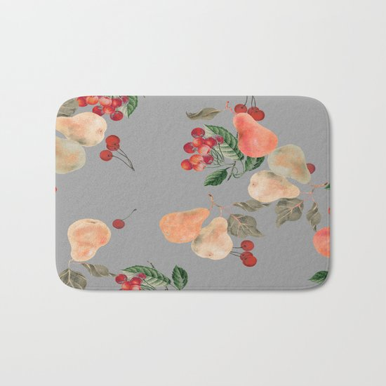 cherries and pears winter Bath Mat