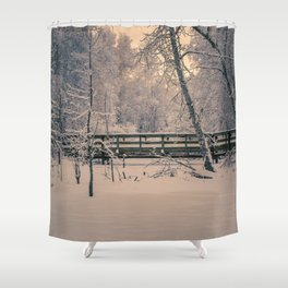 A sepia toned winter day at Creamers Field, the footbridge Shower Curtain