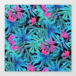 Tropical Leaves Floral Pattern Blue and Pink Canvas Print
