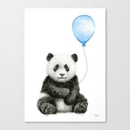 Panda Baby Animal with Blue Balloon Canvas Print