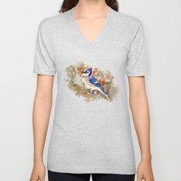 Watercolor Blue Jay Art Unisex V-Neck
