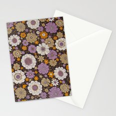 Retro floral sheet purples Stationery Cards