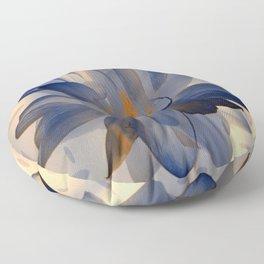 Midnight Blue Polka Dot Floral Abstract Floor Pillow