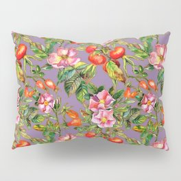 Artistic hand painted pink red watercolor botanical roses pattern Pillow Sham