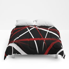 Seamless Red and White Stripes on A Black Background Comforters