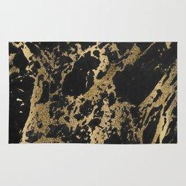 Modern faux gold glitter black marble Rug