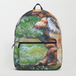 German Shepherd dog portrait painting by L.A.Shepard fine art alsatian Backpack