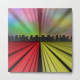 Into the City at Night Metal Print