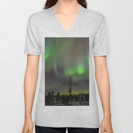 Ghostly Northern Lights Unisex V-Neck