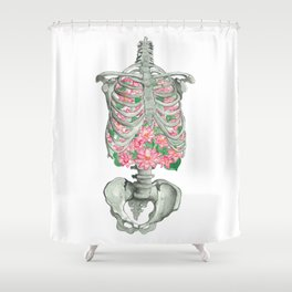 Blooming Ribs: Floral Human Anatomy Shower Curtain