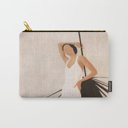 Minimal Woman with a Palm Leaf Carry-All Pouch