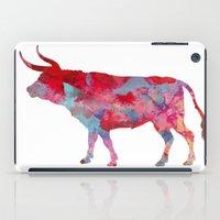 bull iPad Cases featuring Bull by WatercolorGirlArt