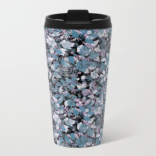 Openwork blue and purple leaves on a black background . Metal Travel Mug