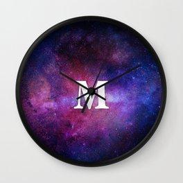 Monogrammed Logo Letter M Initial Space Blue Violet Nebulaes Wall Clock