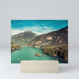 Lake Diablo - Blue and Green Water and Trees Mini Art Print