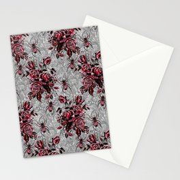 Vintage Roses and Spiders on Lace Halloweeen Watercolor Stationery Cards