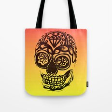 Sugar Skull - Ombre Red and Yellow Tote Bag