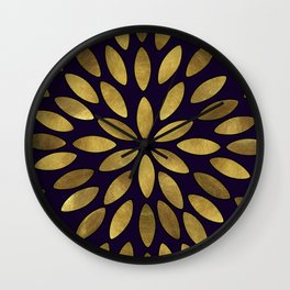 Classic Golden Flower Leaves Pattern Wall Clock