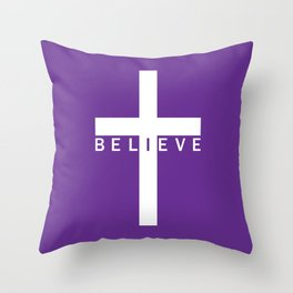 Believe Cross (Purple) Throw Pillow