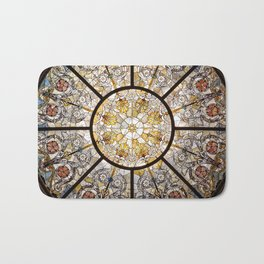 Stained glass window glass ceiling Bath Mat