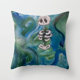 Blue Skelly Dude Throw Pillow