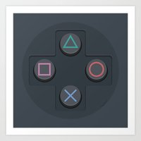 playstation Art Prints featuring PlayStation - Buttons by dudsbessa