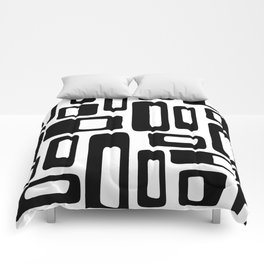 Retro Mid Century Modern Abstract Pattern 336 Black and White Comforters